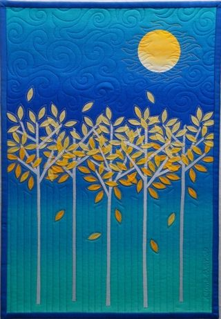 Diane Evans Blue Gold MoonTree Quilt