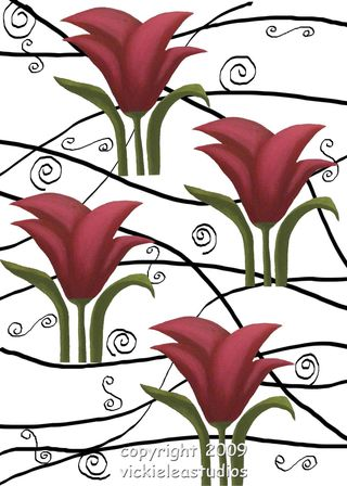 Vi ckie Lea Red Flower with swirls and swirlies