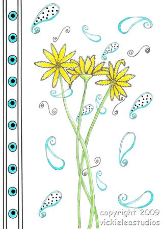Vicki Lea Flowers-yellow with blue frame copy